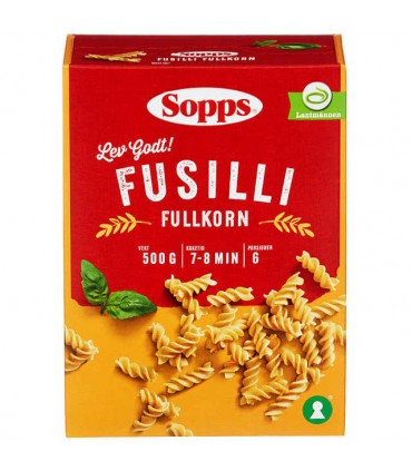Fusilli Fullkorn 500g Sopps