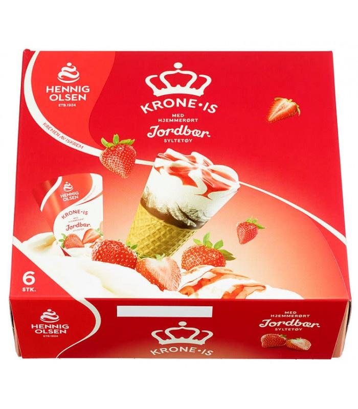 Krone-Is Jordbær Multipack 6stk Hennig Olsen
